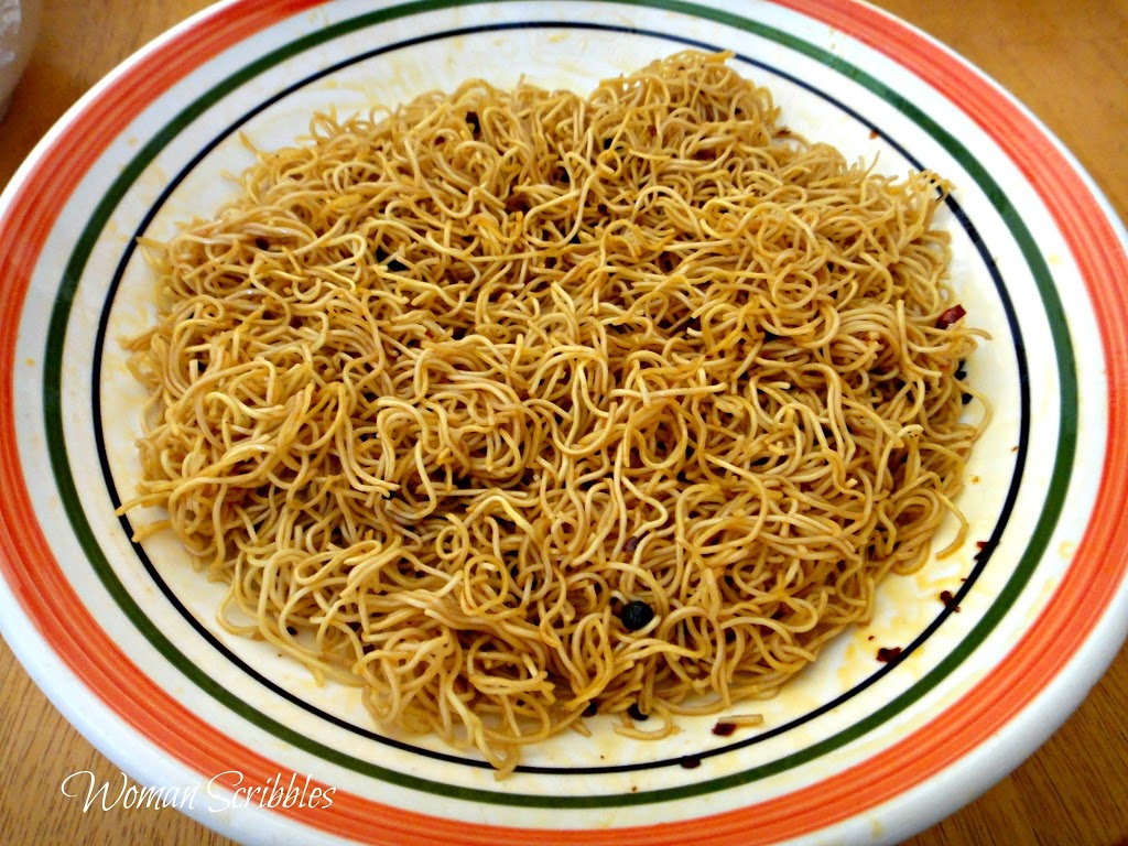 Spicy Pan Fried Noodles Woman Scribbles