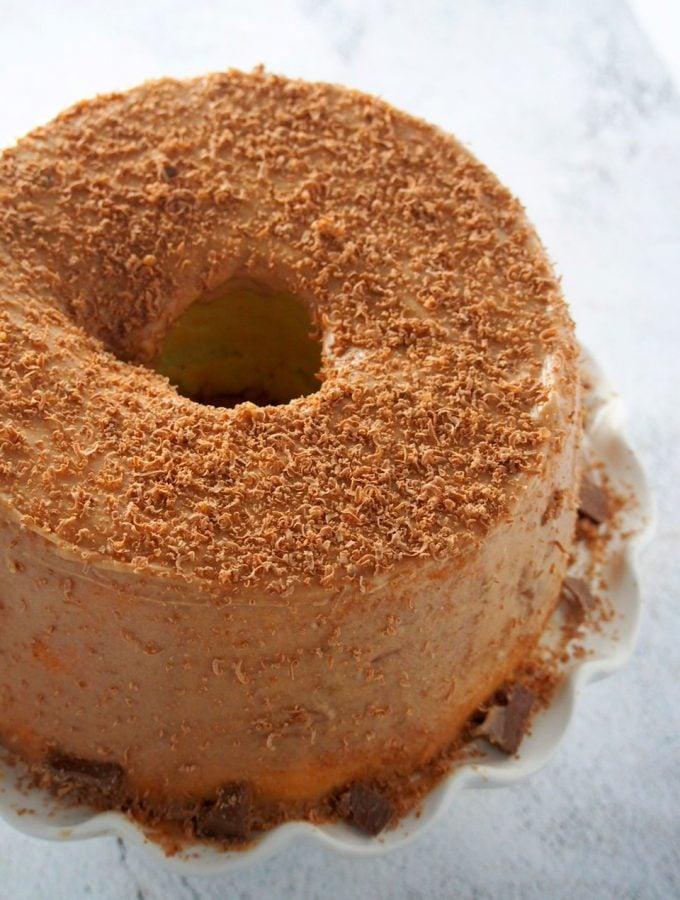 Top angle shot of chiffon cake with mocha icing.
