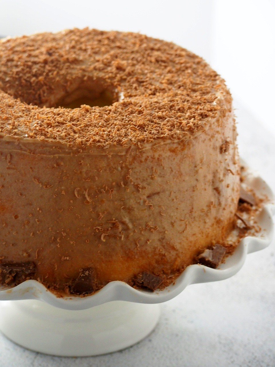 Close up shot of Chiffon cake with mocha icing.