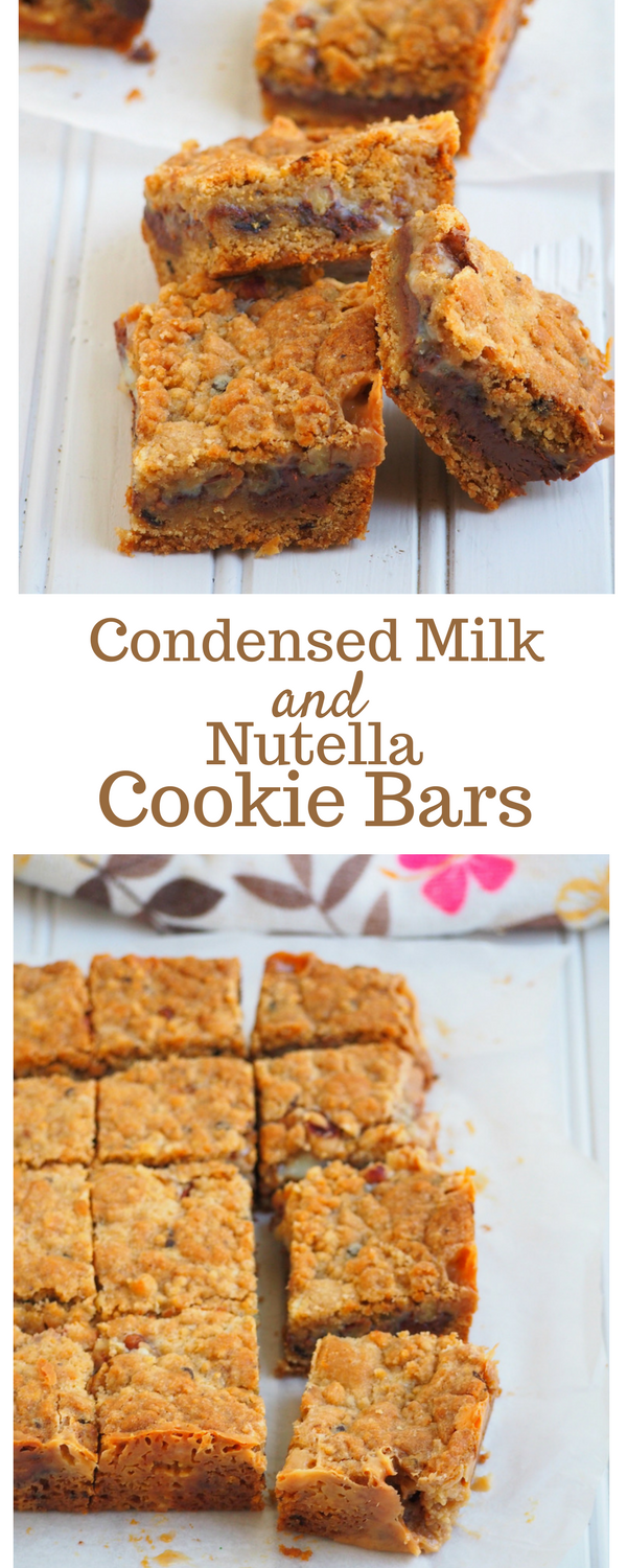 One of my favorite recipes with condensed milk, These cookie bars are delicious delights filled with sweetened condensed milk and Nutella in the centers.