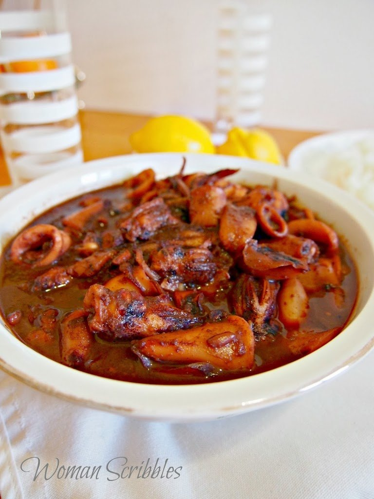 Sweet and spiy squid perfect with a heaping plate of rice. It is a sweet, slightly spicy and very sauce dish.