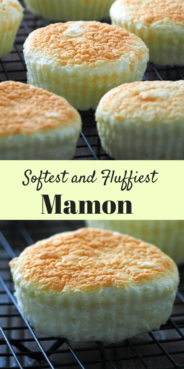 This is the softest and most delicate, fluffy mamon. They are delicious little cakes with a hint of cream cheese and butter and can be made special by toppings of cheese, sugar and more butter. #FilipinoCakes #Mamon #Spongecakes #AsianDesserts