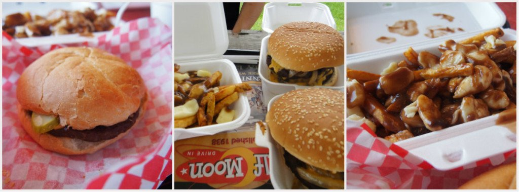 burgers and poutine Half Moon drive in