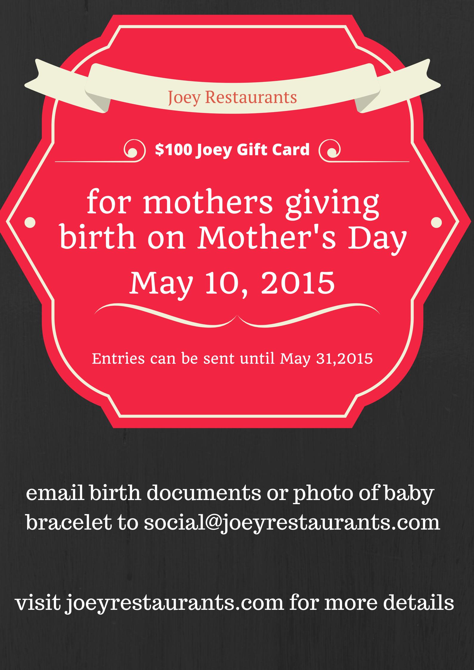 Joey Restaurants mother's day