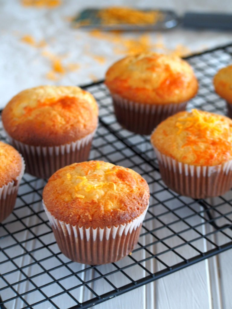 Cheese cupcakes are light but chewy cakes packed with amazing flavor of cheddar cheese.