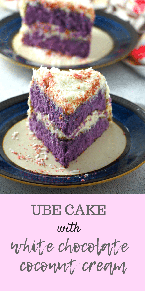 This ube cake with white chocolate coconut cream is so divine. It is a delicious ube-coconut treat! #purpleyam #ube #coconut #Asiancakes | Woman Scribbles