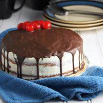 white chocolate cake with cherry