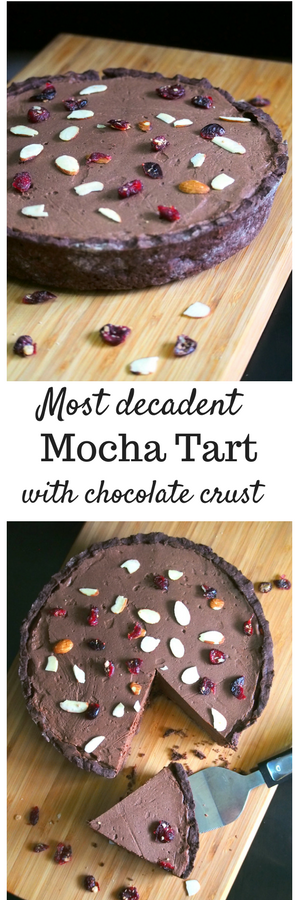 A decadent Mocha tart made with chocolate crust and creamy chocolate mocha filling.