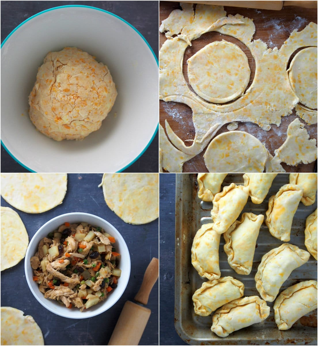 A process collage showing the assembly of chicken empanada.