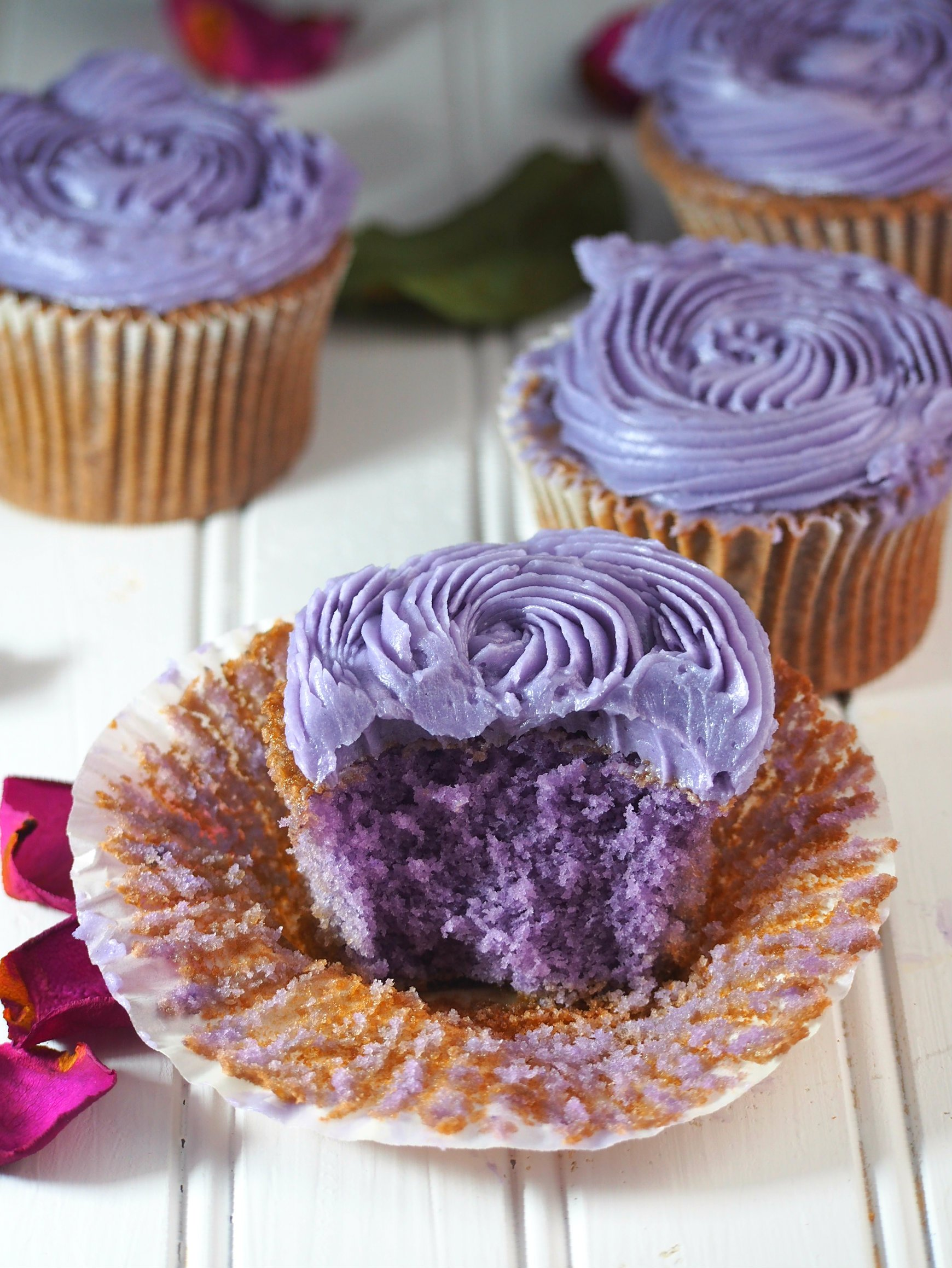 This recipe yields moist and flavorful ube cupcakes that are perfect with the creamy swiss meringue buttercream icing.