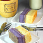 Ube Vanilla chiffon cake is made of of ube and vanilla chiffon slices, held together by a thin layer of ube buttercream. Since they are sliced to serving pieces, they are very handy to eat which makes them great for bringing along to get-togethers and gatherings.