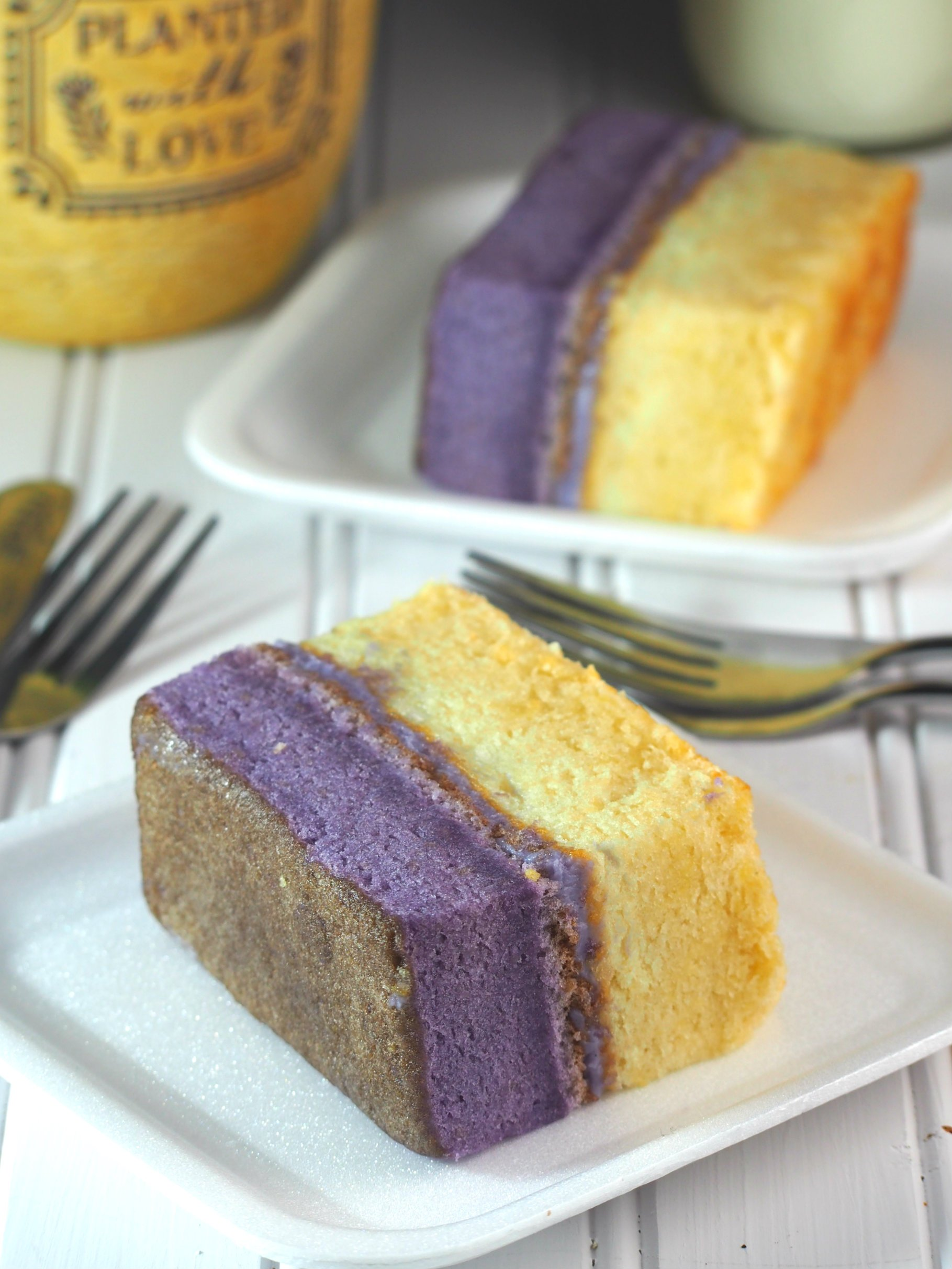 The perfect recipe for light and moist ube vanilla chiffon cake.