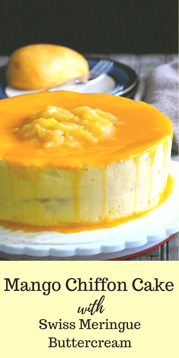 Creamy and delicious! This Mango Chiffon Cake recipe is all you need to make the best mango cake ever. #mangocakes #mangoes #chiffoncakes