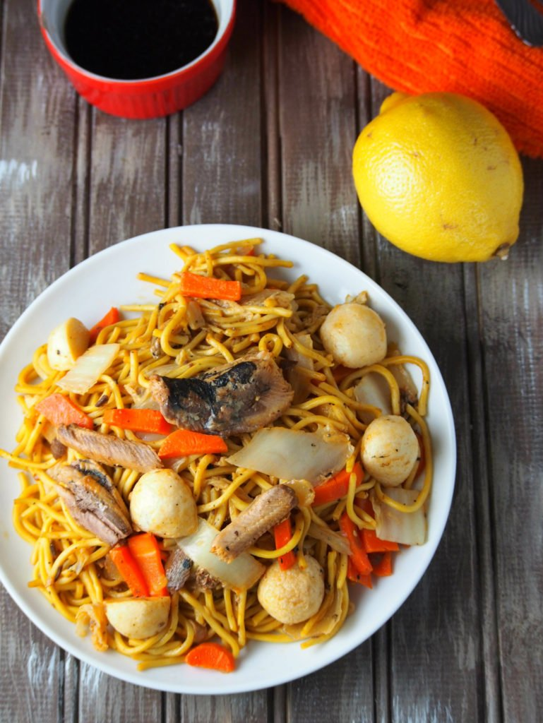 An easy Filipino style pancit canton that uses canned sardines for a meat free variation.