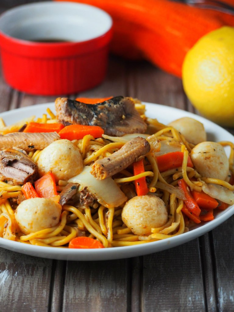 A Filipino style pancit canton that uses sardines as main ingredient. This meat free noodle dish is tasty and easy to make.
