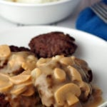 \this burger steak with mushroom gravy is a tasty dish perfect with mashed potato or rice.