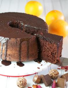 Chocolate Chiffon Cake with Orange Chocolate Glaze