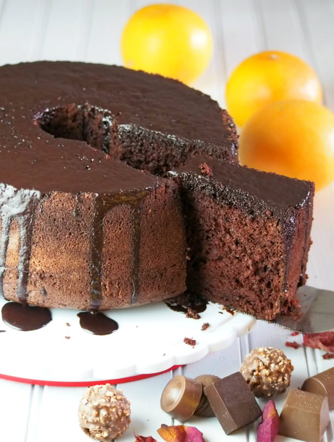 A fluffy and soft chocolate chiffon cake that is made even more special with orange chocolate glaze. This elegant chiffon will be loved for its pure decadence and simplicity.