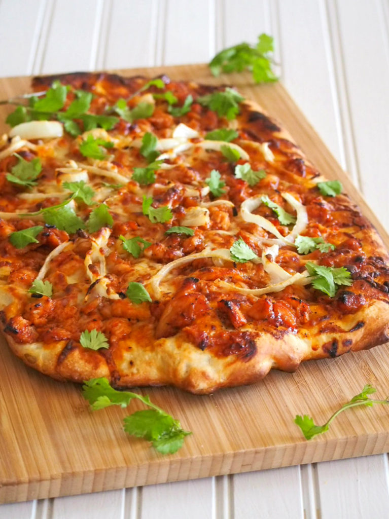 Chicken BBQ Pizza, nice chicken pieces with sweet, tangy and salty bbq sauce on a homemade pizza crust.