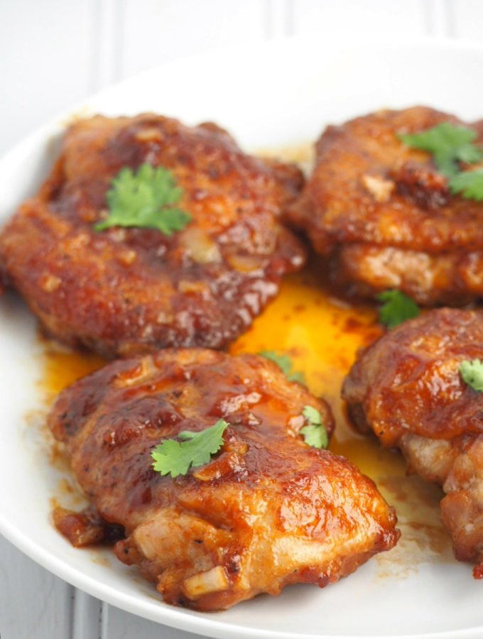 Soy Mustard Chicken are fried pieces of chicken thighs smothered in a sweet, salty and tangy sauce.