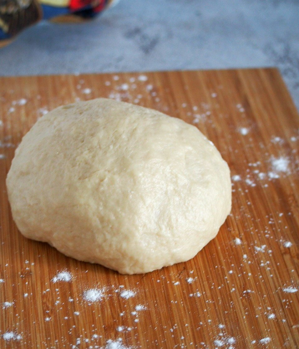 The kneaded dough-smooth and elastic.