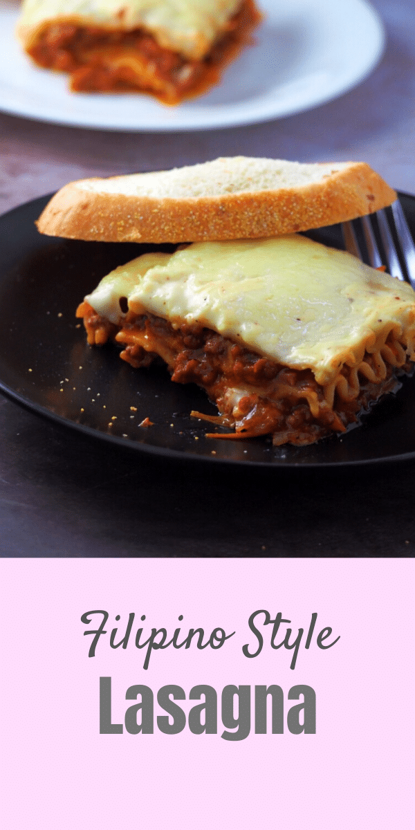 Filipino Style Lasagna is sweet, cheesy and creamy. It is a rich lasagna pasta made with saucy ground beef meat sauce layered with a creamy bechamel sauce and finally topped with lots of mozzarella cheese. #Filipinopasta #pinoylasagna