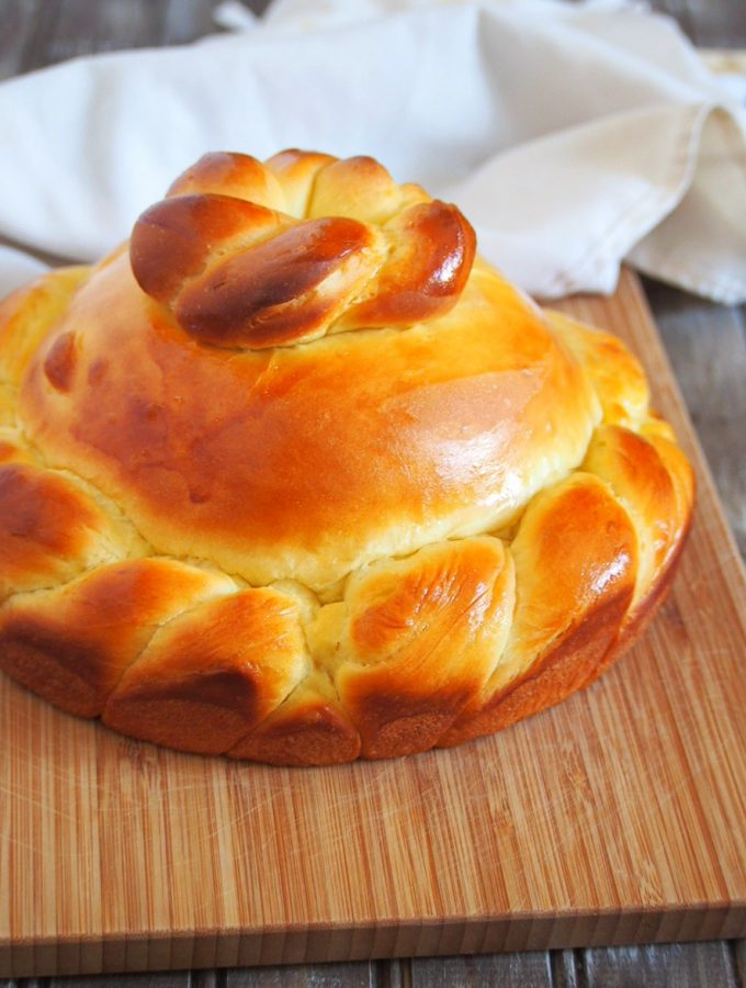 Sweet Greek Bread whole and fresh from the oven.