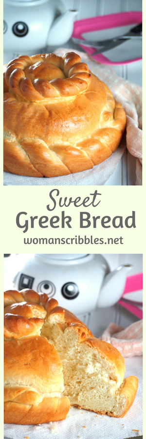 Sweet Greek Bread is comparable to a brioche. It is mildly sweet, buttery and an egg rich bread perfect for snack or breakfast.Enjoy it plain or with a pat of butter.