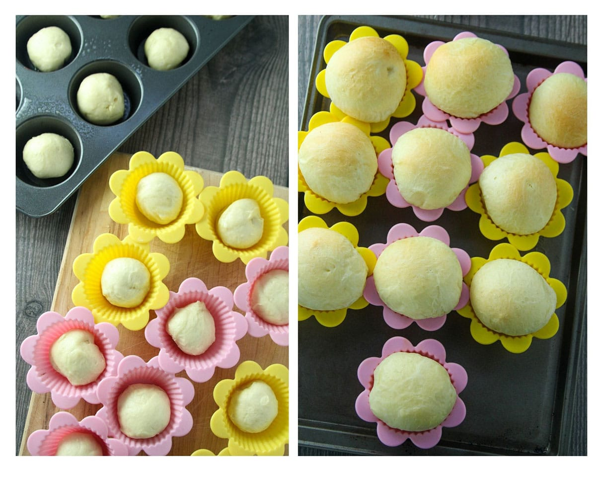 The shaped ensaymada dough before and after baking, in silicon baking cups.