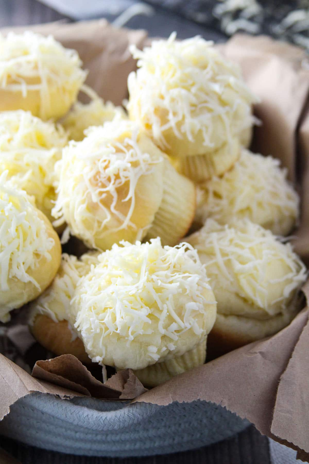 The ensaymada on a bread basket.