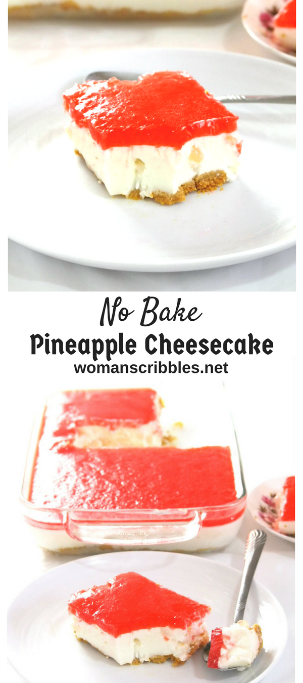 This no bake Pineapple Cheesecake is a creamy dessert with a hint of freshness from the pineapples. It is a simple, tasty treat nestled on a buttery graham crust.