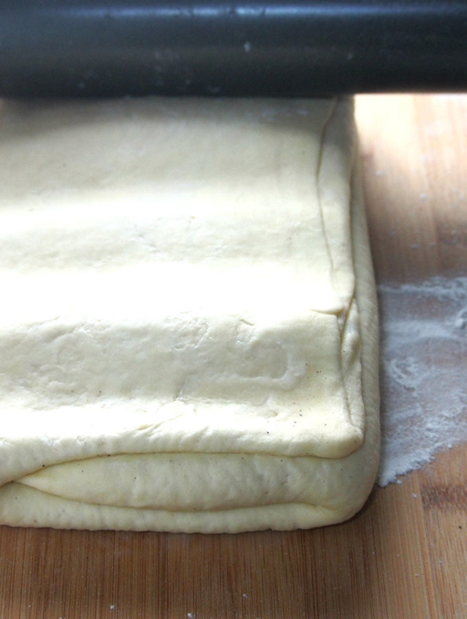 A croissant dough recipe that yields flaky and buttery pastry. It can be used to make a variety of breakfast treats.