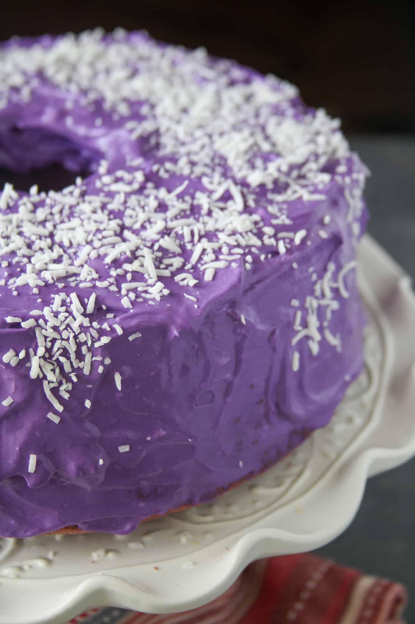 Close up shot of Ube Chiffon Cake.