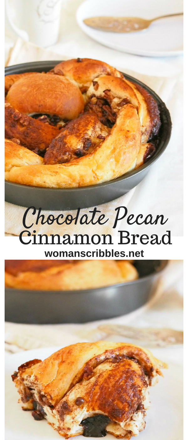 This Chocolate Pecan Cinnamon Bread is a soft, tasty bread braided with a delightful mixture of cinnamon sugar, cocoa, chocolate chips and pecan nuts. The addictive flavor and the soft texture of bread will have you pulling out a piece of this bread one after another.
