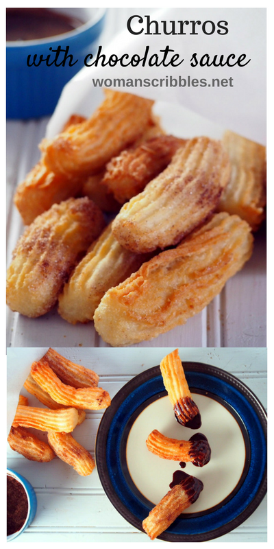 Churros are deep fried, crunchy and cinnamon sugar crusted dough that are perfect for munching anytime. Dipped in chocolate sauce while warm and fresh, these little snacks bring serious delight and satisfaction.