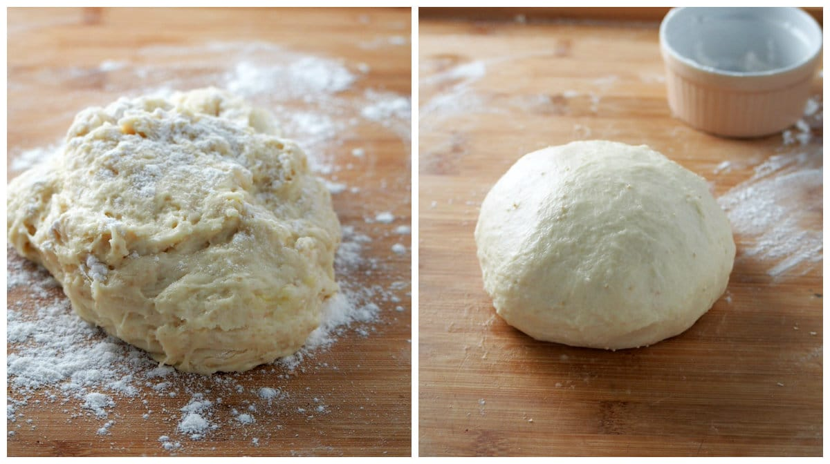 The Nutella bread dough before and after kneading.