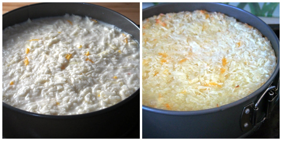 The cassava cake base before and after baking.