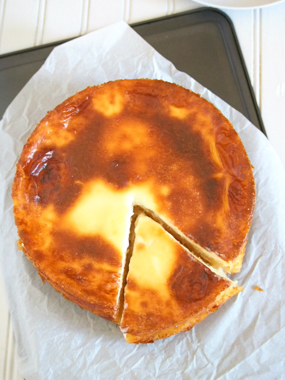 Top shot angle of cassava cake.