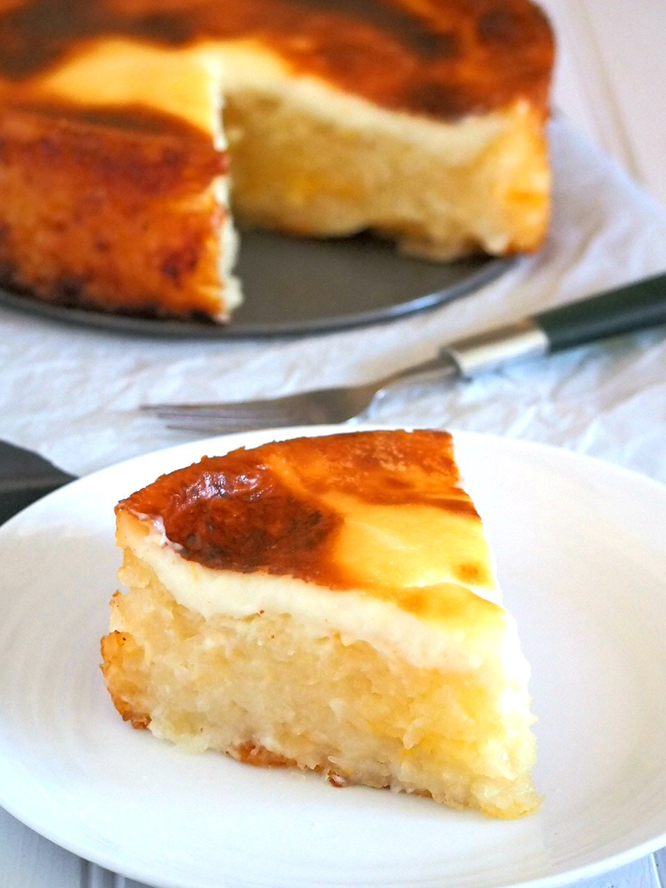 A slice of cassava cake in a plate.