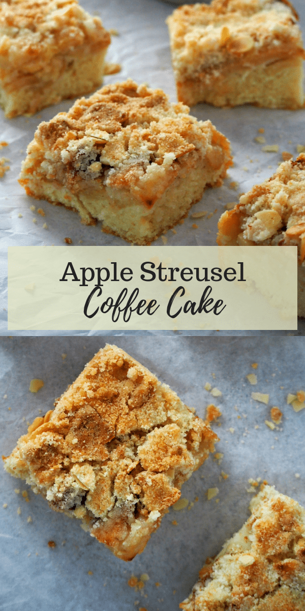 Such a delightful Apple treat! This Apple Streusel Coffee Cake combines tender-crisp apples, slivered almonds and buttery crumb toppings to make one delicious apple coffee cake. #streusel #coffeecake #appledesserts #applecakes