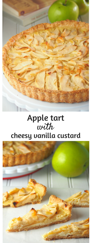 This apple tart is made of tender-crisp apples arranged on a bed of cheesy vanilla custard.