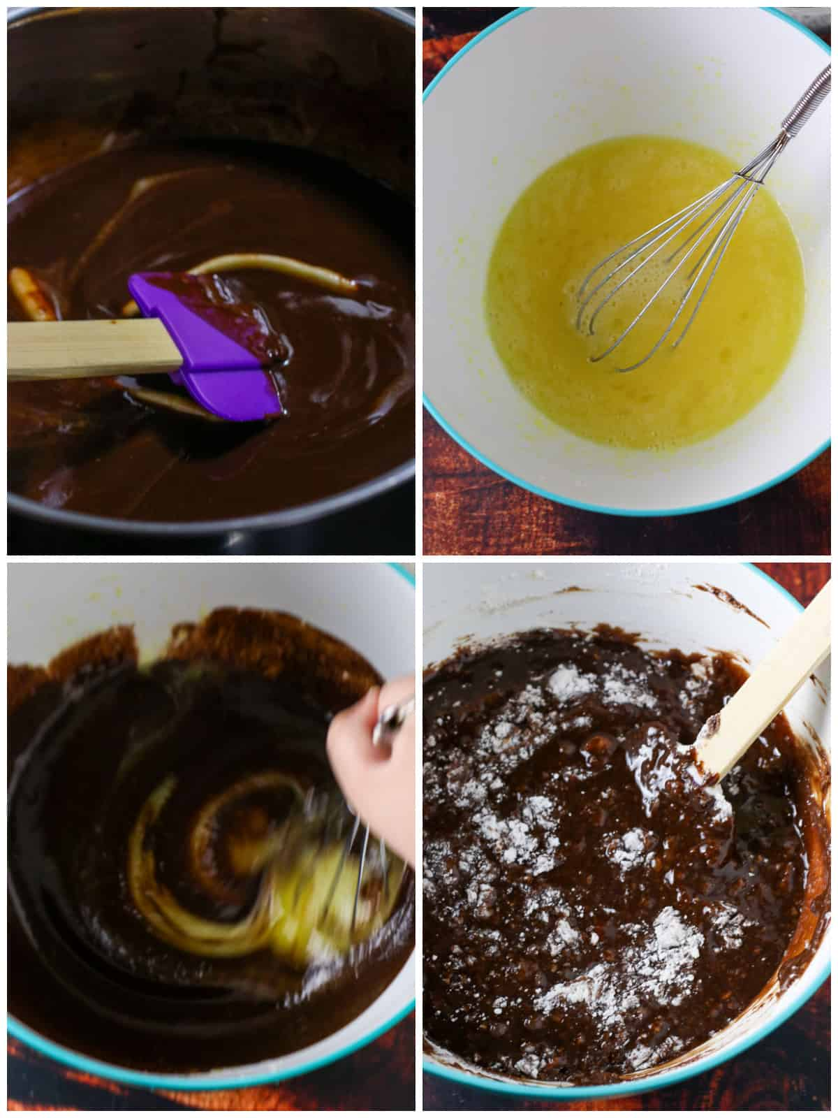 A collage showing the mixing process of the chocolate brownie batter.