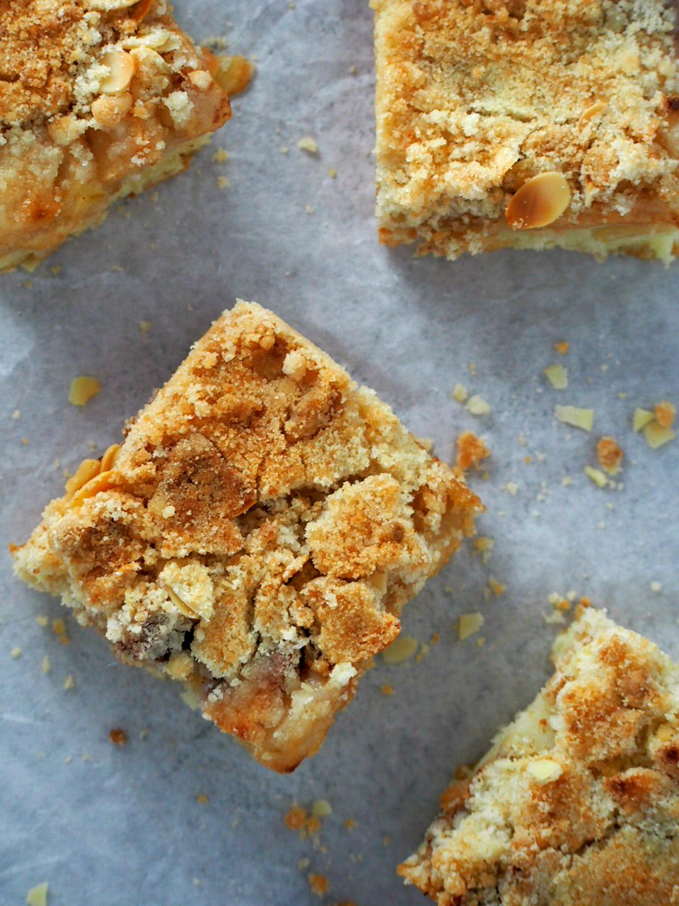 Top angle view of apple streusel coffee cake slices.