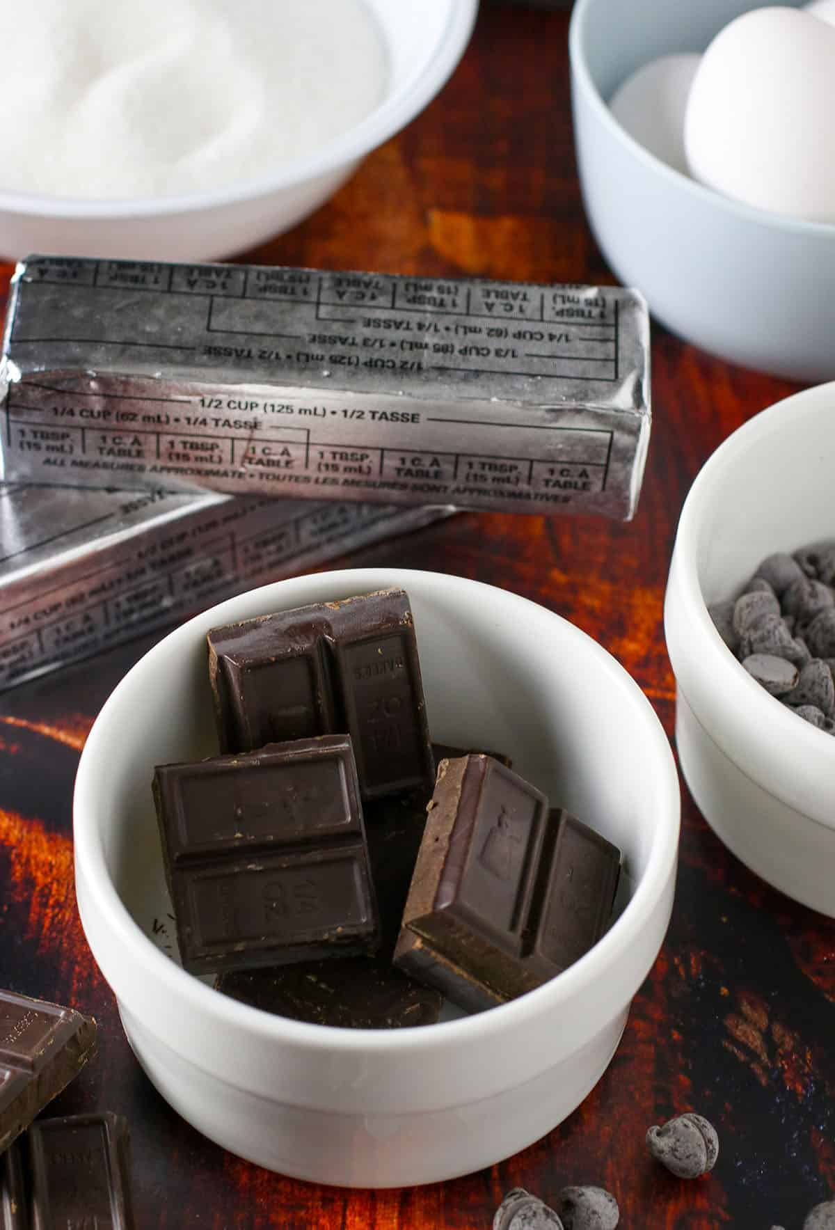 The ingredients for the best ever chocolate brownies.