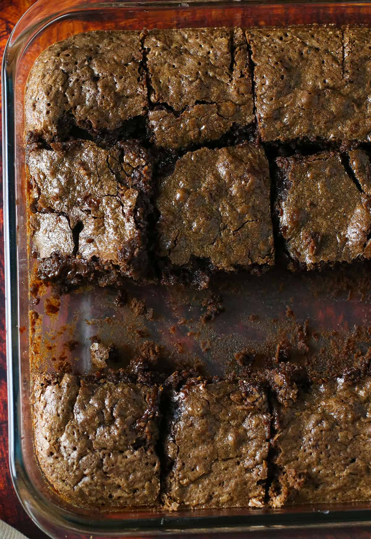 Top shot of chocolate brownies in a pan.