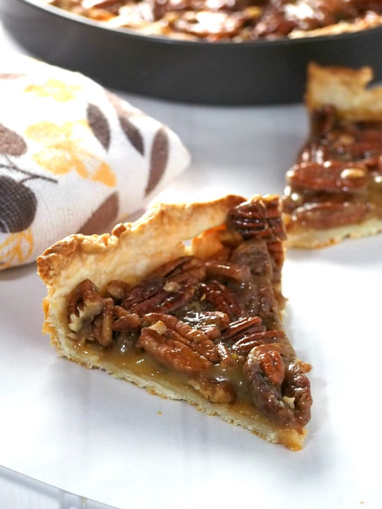 Make this easy Pecan Pie and indulge on these crunchy and sweet pecans nestled in a flaky cream cheese pie crust. This is ultimately a pecan overload dessert without being overly sweet and rich.