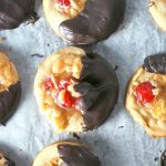 These Florentine biscuits are sweet dough topped with almonds, cherries, and a sweet buttery topping then finished with a coating of melted chocolate.