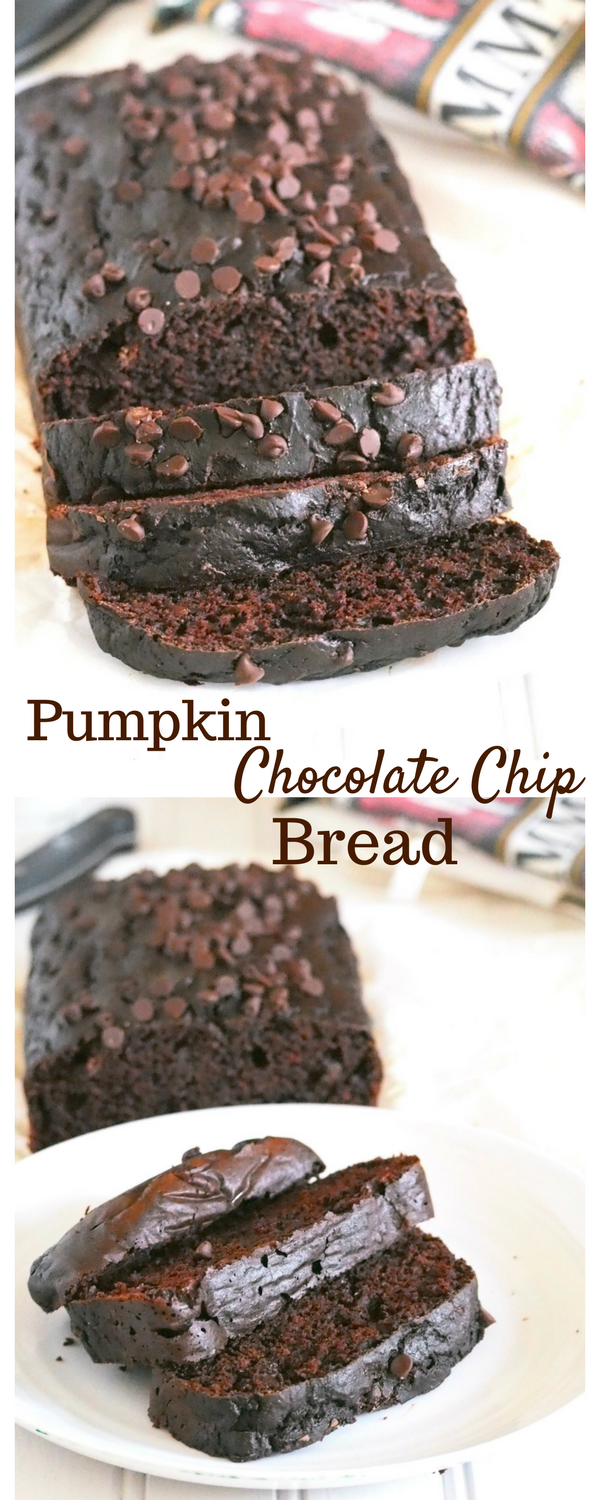 Studded with chocolate chips, this Pumpkin Chocolate Chip Bread is a delightful snack or dessert that has just the rightleve of sweetness and decadence to it.