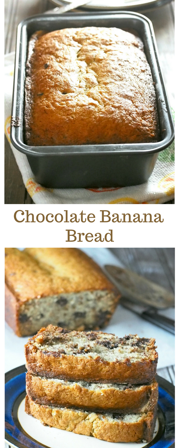 Enjoy a true classic flavor combination of banana and chocolate in this Chocolate Banana bread. Tasty, moist, rich and packed with chocolatey goodness.