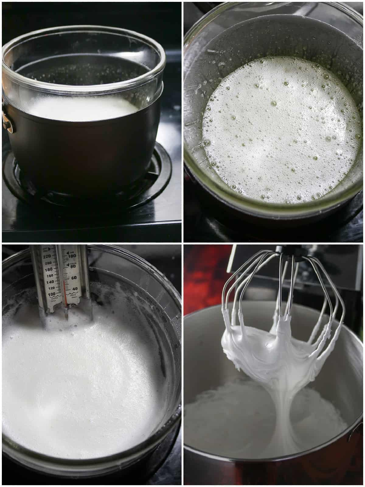 A collage showing how to make the swiss meringue buttercream in the double boiler.